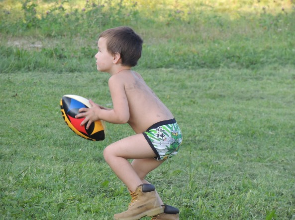 strawberry blonde; underwear and barn boots; backyard ball
